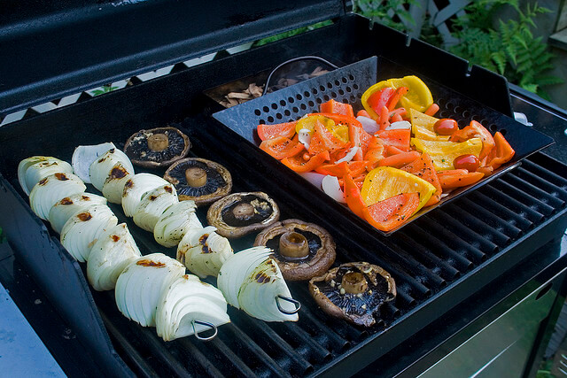onion, mushroom, bell peppers on grill
