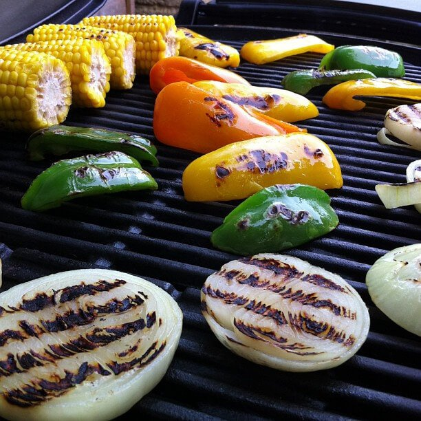 onion, bell peppers, corn on grill