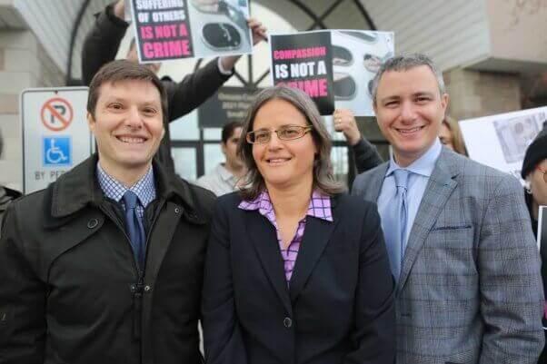 Photo by Elli Garlin. Anita Krajnc with Gary Grill & James Silver