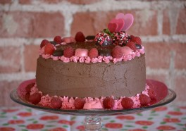 Vegan Mexican Chocolate Cake With Jamaica Flower–Raspberry Frosting