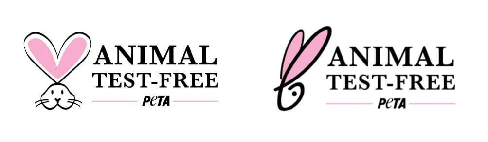 Logos de PETA, productos libre de crueldad, vegano